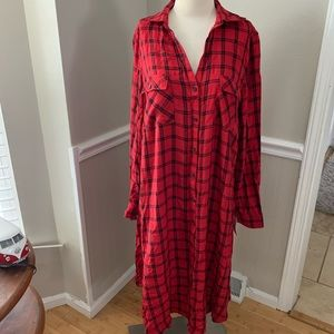 Isabel maternity red plaid button down dress XL